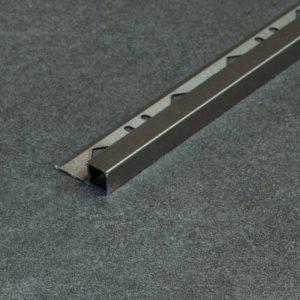 Tegelprofiel Aluminium Vierkant Mat Donkergrijs / Donkerbruin - Lengte 2,50m