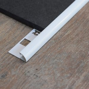 Aluminium tegelprofiel kwart rond wit
