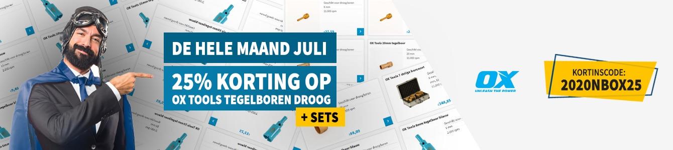 De hele maand juli 25% korting op alle OX Tools Tegelboren Droog + Sets!
